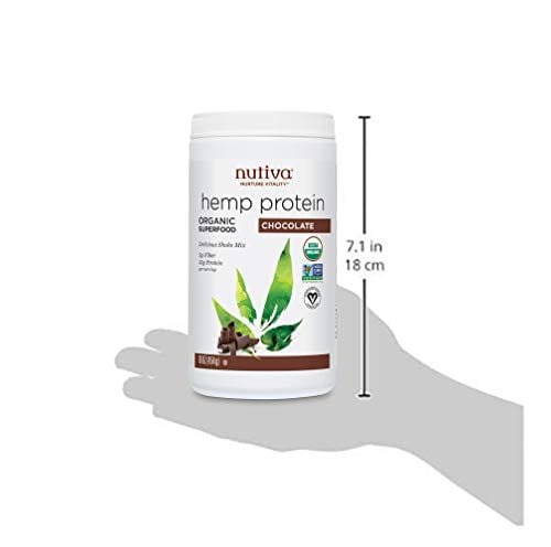 Nutiva Organic Cold-Processed Hemp Chocolate Protein Powder Bottle