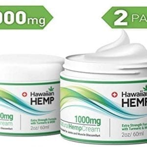 Hawiian 2Pk Hemp Cream Pain Relief Lotion 1000mg Prevent Joint Pain