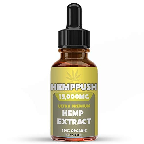 bottle of Hemppush Organic Hemp Oil Best Herbal Supplement Oil Drops