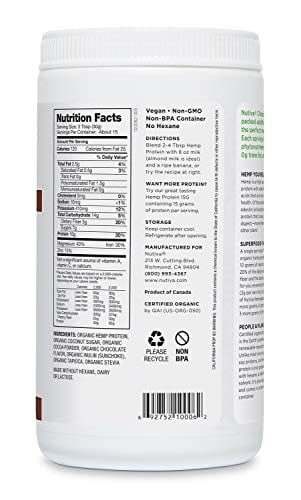 Vegan Nutiva Organic Cold-Processed Hemp Chocolate Protein Powder