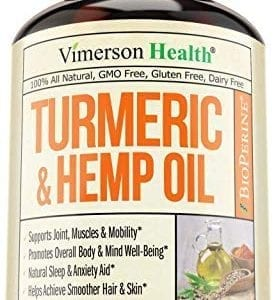 bottle of Vimerson Health Turmeric Curcumin Hemp Oil Powder Capsules
