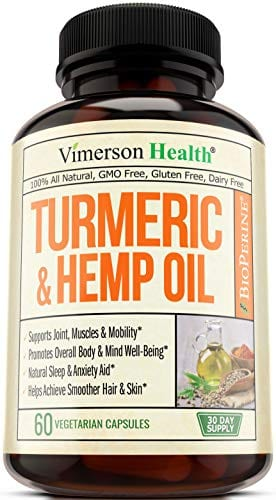 bottle of Vimerson Health Turmeric Curcumin Hemp Oil Powder Capsules