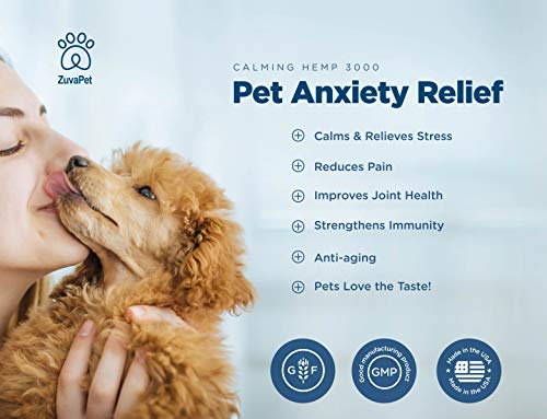 relive Anxiety with ZuvaPet Hemp Oil Dogs Cats Treats Anxiety Joint Supplement