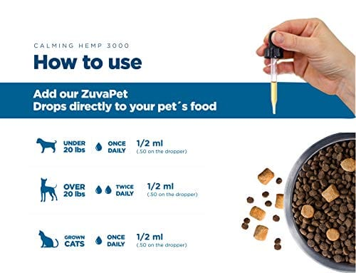 ho to use ZuvaPet Hemp Oil Dogs Cats Treats Anxiety Joint Supplement