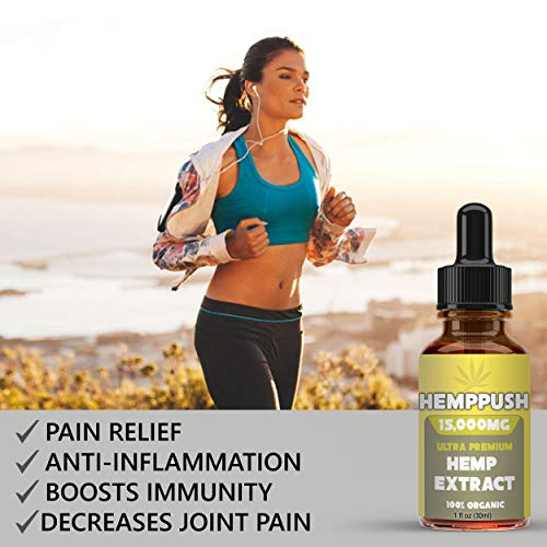 Woman running Hemppush Organic Hemp Oil Best Herbal Supplement Oil Drops