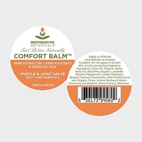 application of Restorative Botanicals Comfort Balm Hemp Oil Extract Salve 60 mg