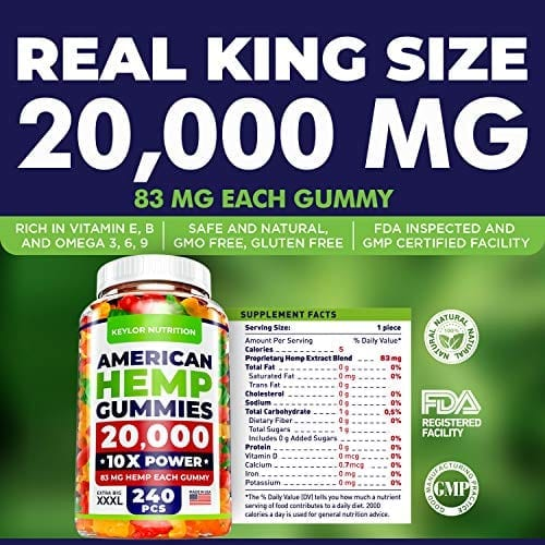 King Size Keylor Nutrition All-Natural Hemp Oil Gummies CO2 Extraction