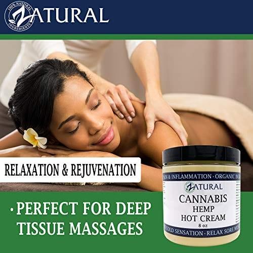 Massage with Zatural Cannabis Hemp Oil Organic Therapeutic Hot Cream