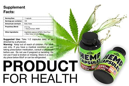 supplement facts of HempBri Premium Hemp Oil Pure Natural Organic Extract Capsules