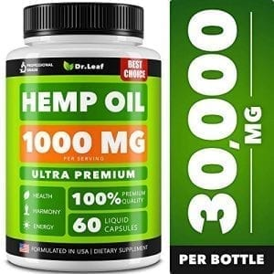 Dr. Leaf Hemp Oil Capsules 1000 MG PER SERVING Omega 3, 6, 9