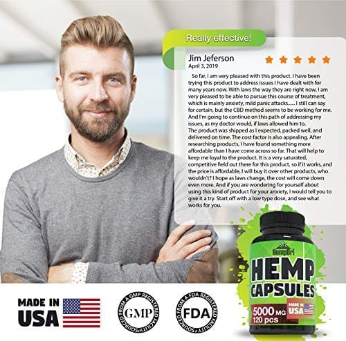man Describing HempBri Premium Hemp Oil Pure Natural Organic Extract Capsules