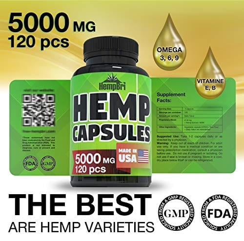 5000 Mg HempBri Premium Hemp Oil Pure Natural Organic Extract Capsules