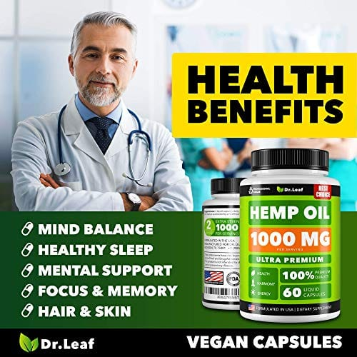 Benefits of Dr. Leaf Hemp Oil Capsules 1000 MG PER SERVING Omega 3, 6, 9