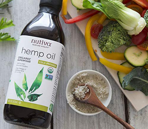 Bottle of Nutiva Organic Cold-Pressed Unrefined Canadian Hemp Seed Oil
