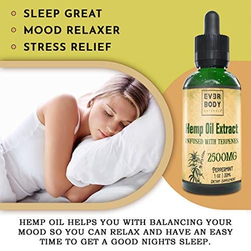 Sleep better with Ever Body Naturals Hemp Oil Extract Drops Peppermint Flavor