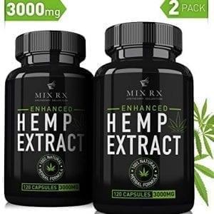 2 Pack Mix Rx Best Natural Organic Hemp Oil Capsules 3000MG