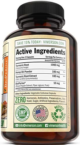 Ingredients of Vimerson Health Turmeric Curcumin Hemp Oil Powder Capsules