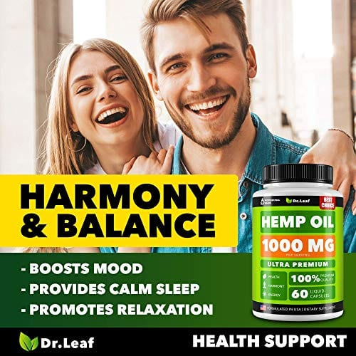 Harmony Dr. Leaf Hemp Oil Capsules 1000 MG PER SERVING Omega 3, 6, 9