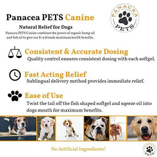 natural relief PANACEA PETS CANINE Organic Hemp & Fish Oil Infused Softgel