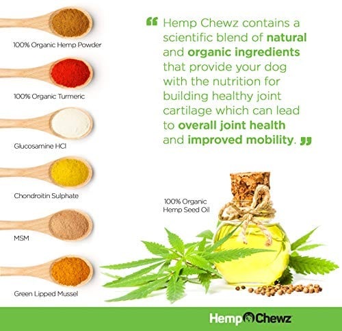 natural ingredients of Hemp Chewz Hip - Joint Care 100% Organic Hemp Oil Dog Treats