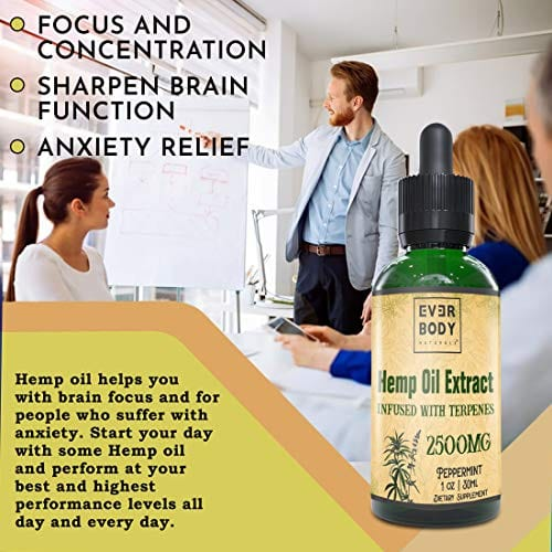 Focus with Ever Body Naturals Hemp Oil Extract Drops Peppermint Flavor