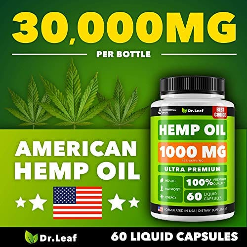 American Made Dr. Leaf Hemp Oil Capsules 1000 MG PER SERVING Omega 3, 6, 9