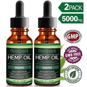Healpark 2Pk Hemp Oil 5000mg Pain Relief Anxiety Natural Organic