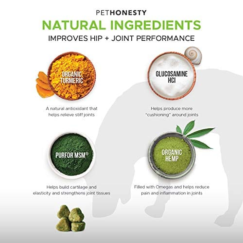 ingredients of PetHonesty Glucosamine Turmeric Hemp Supplement for Dogs