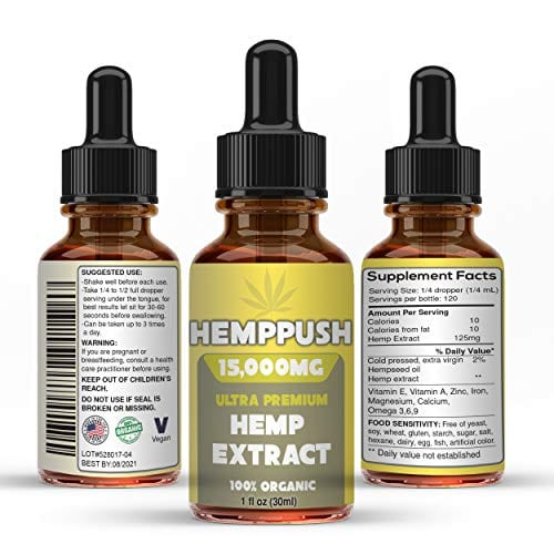 3 bottle Hemppush Organic Hemp Oil Best Herbal Supplement Oil Drops