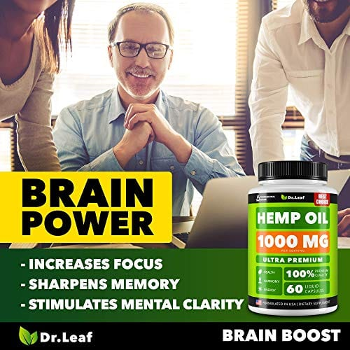 Brain power Dr. Leaf Hemp Oil Capsules 1000 MG PER SERVING Omega 3, 6, 9