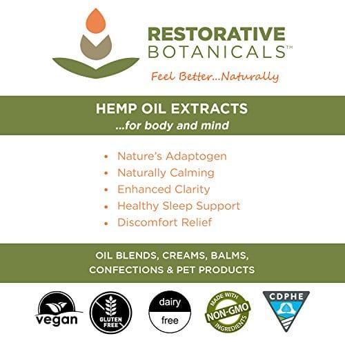 label of Restorative Botanicals Comfort Balm Hemp Oil Extract Salve 60 mg