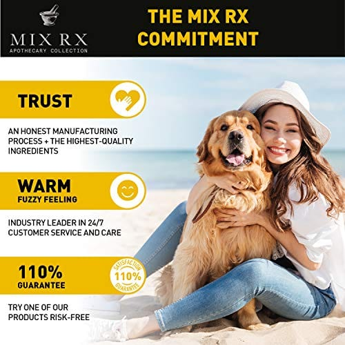 girl and dog loving Mix Rx Pet Hemp Oil treats - Organic Anxiety Itchy Skin Relief