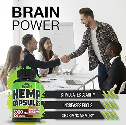 HempBri Premium Hemp Oil Pure Natural Organic Extract Capsules brain power