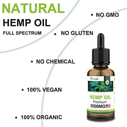 Nevis Premium Organic Hemp Oil Extract 100% Natural (2 Pack) bottle