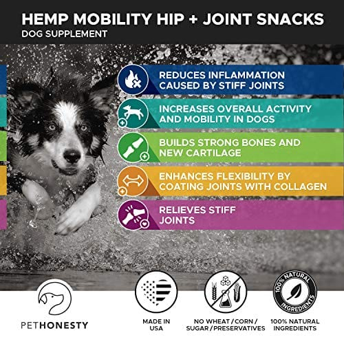 mobility of PetHonesty Glucosamine Turmeric Hemp Supplement for Dogs