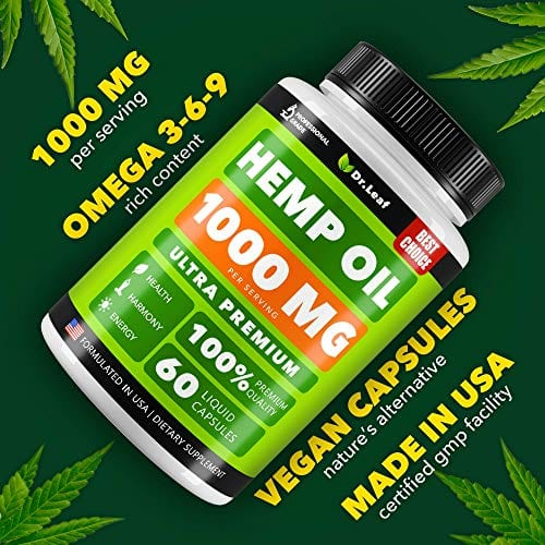 Omega Dr. Leaf Hemp Oil Capsules 1000 MG PER SERVING Omega 3, 6, 9