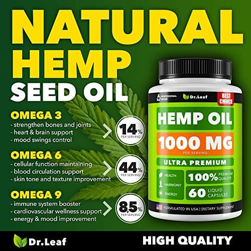Description of Dr. Leaf Hemp Oil Capsules 1000 MG PER SERVING Omega 3, 6, 9