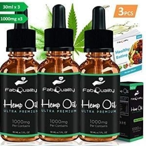 FabQuality 3pcs Hemp Oil Drops 1000mg 100% Natural Extract