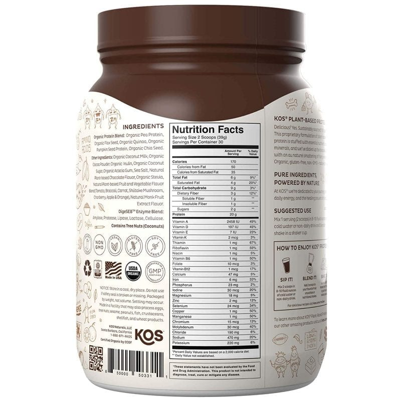 info for KOS Chocolate Organic Plant Based Raw Vegan Protein Powder