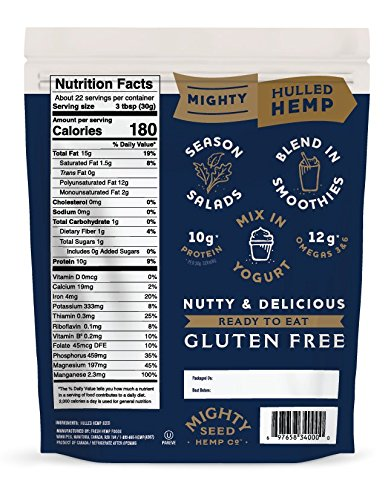 Mighty Seed Non GMO Hemp Hulled Seeds Vegan Friendly 24 Ounce Bag