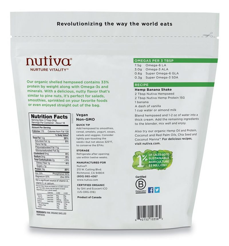 Nutiva Organic Raw Shelled Hempseed Non-GMO Canadian Hemp Bag