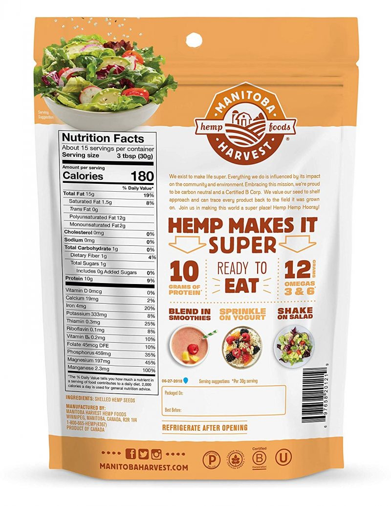 Manitoba Harvest Hemp Hearts Raw Shelled Hemp Seeds Bag
